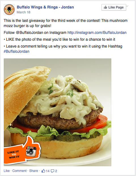 buffalo wings and rings instagram contest cross promotion