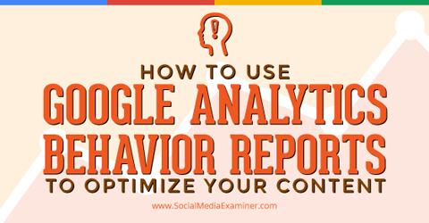 use google analytics behavior reports