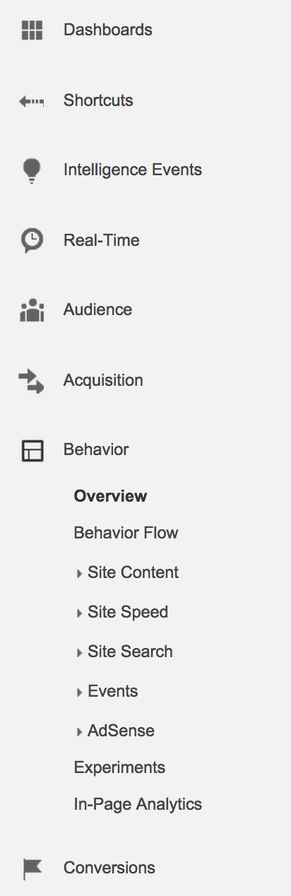 google analytics behavior menu
