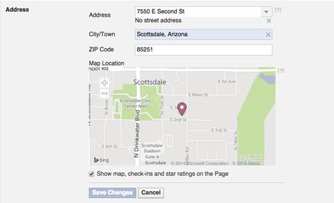 facebook address info settings