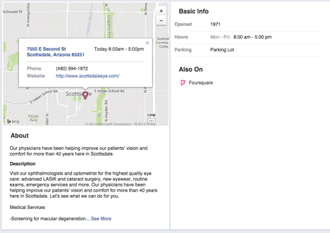 facebook about tab showing checkin map