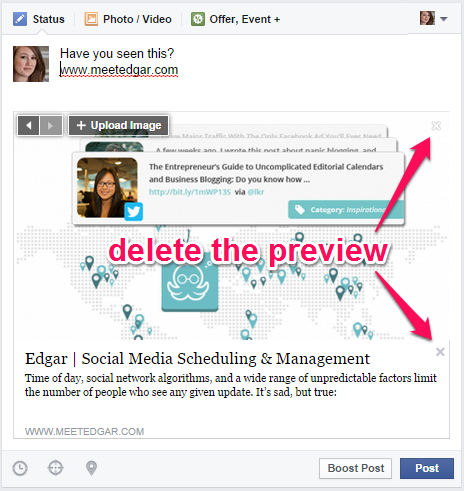 delete preview of facebook link