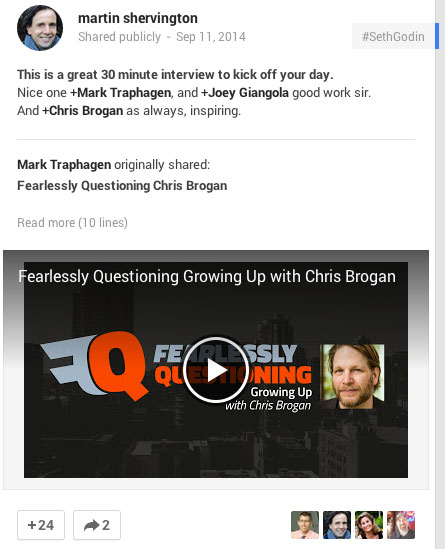 promoting chris brogan on google+