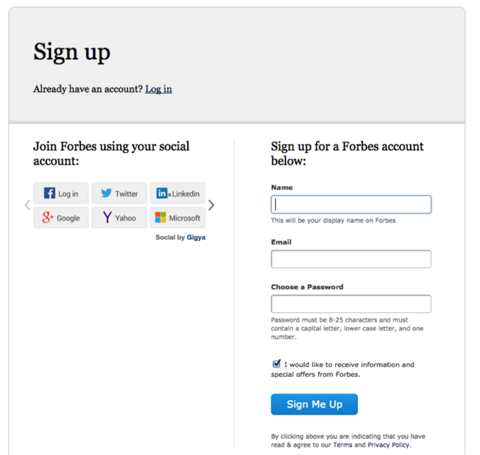 forbes sign up options