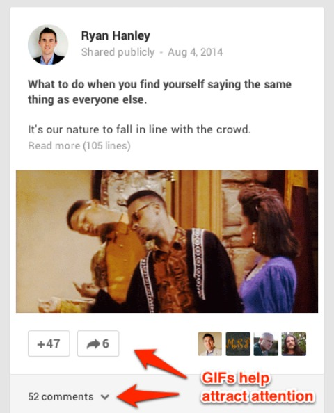 gif in google plus post