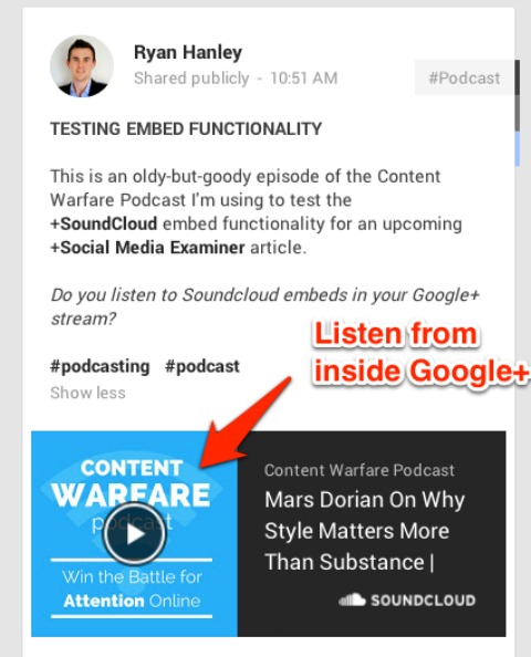 podcast audio in google plus post