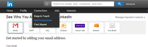 import email contacts to linkedin