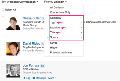 filtering linkedin connections