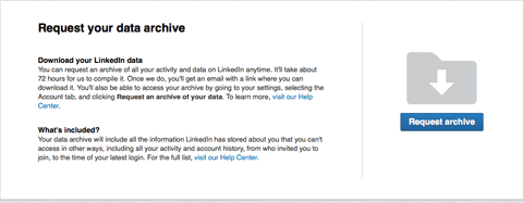 linkedin data download button
