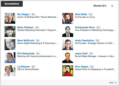 linkedin connections section