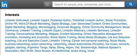linkedin interests section