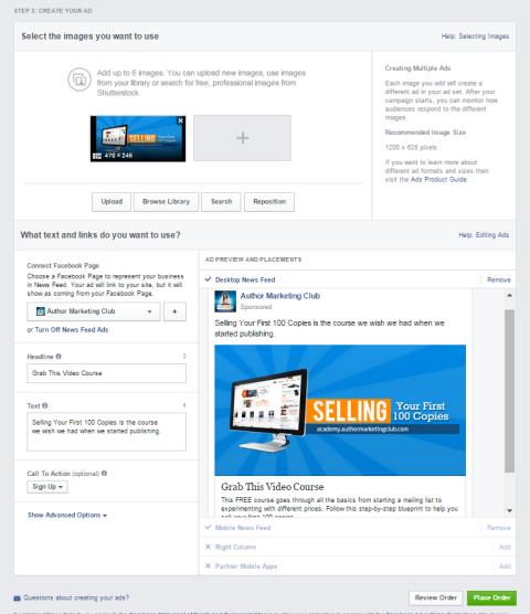 design facebook ad