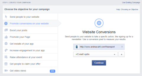facebook website conversion options