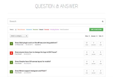 dw question answer plugin