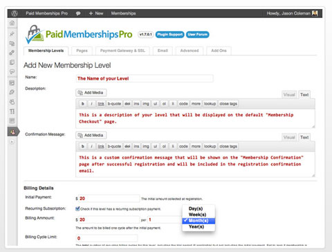 paid membership pro plugin
