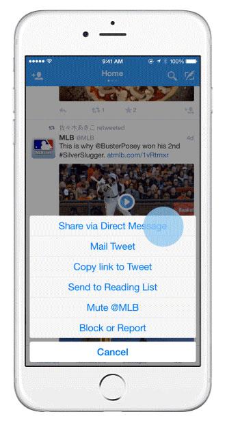 share tweet a twitter direct message