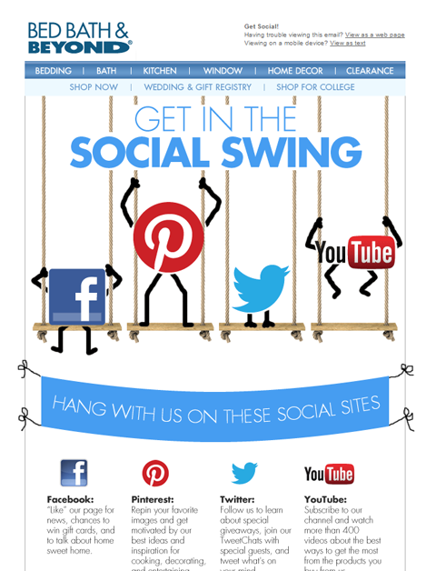 social links in bed bath & beyond email