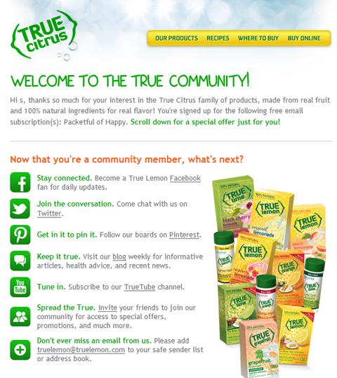 social links in true citrus email