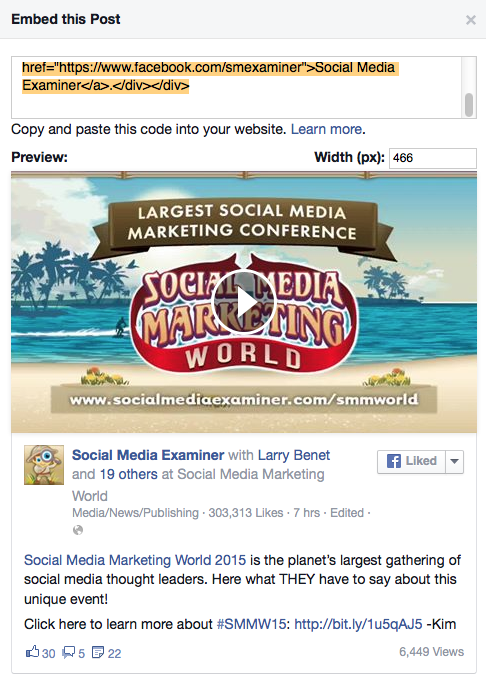 You can embed any Facebook post, including your video and text, into any website or blog.