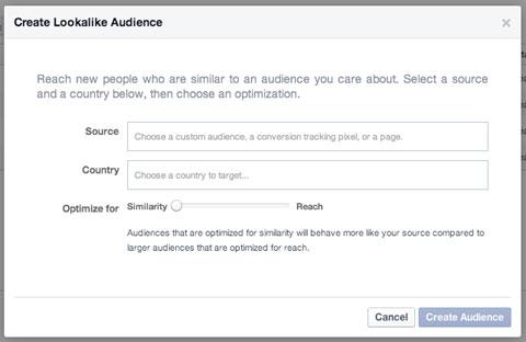 lookalike audience creation in facebook