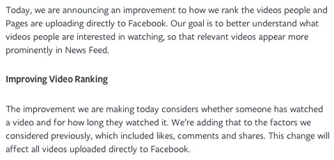 facebook video news feed announcement excerpt