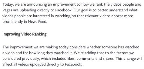 facebook video news feed announcement excerpt