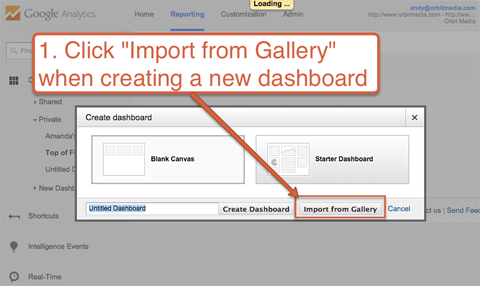 import a dashboard from the gallery