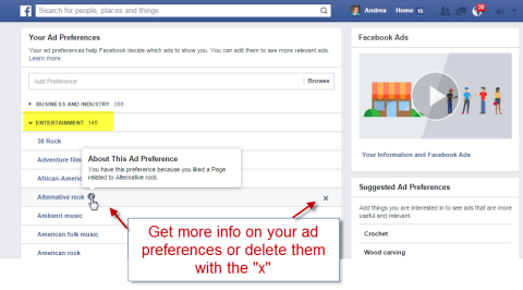 delete facebook ad preference categories