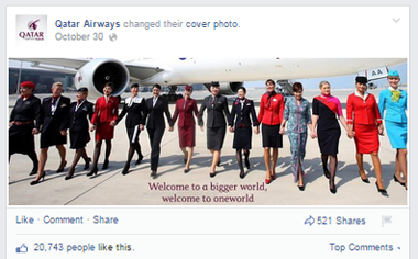 qatar airways facbook cover image post