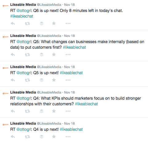 #likeable twitter chat messages