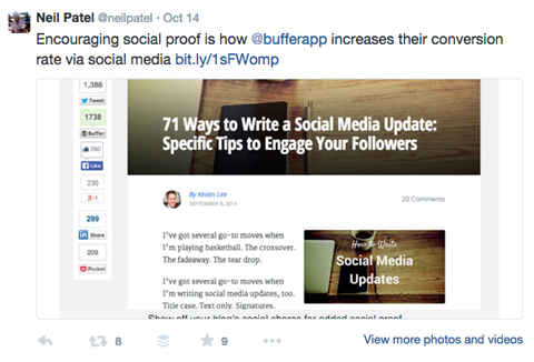 buffer blog post promoted by neil patel