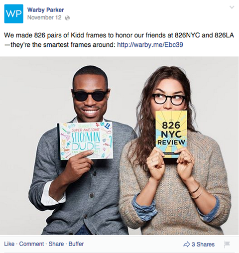 warby parker facebook post