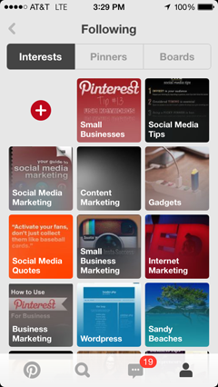 pinterest interests on ios