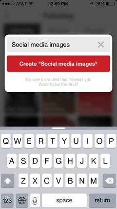 create pinterest interest on ios