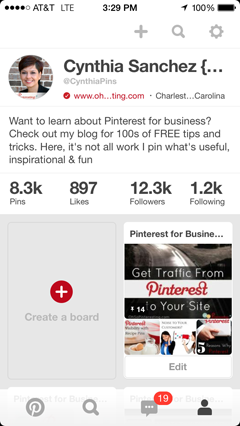 pinterest profile on ios