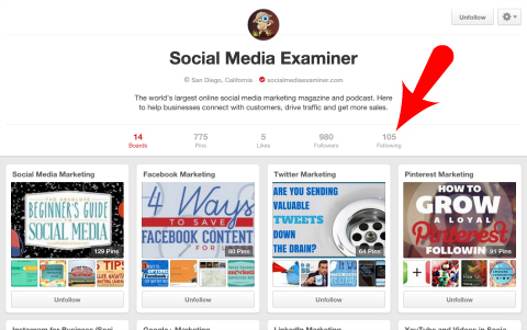 social media examiner following link on pinterest