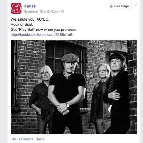 itunes facebook update
