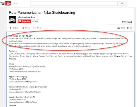 nike youtube video description