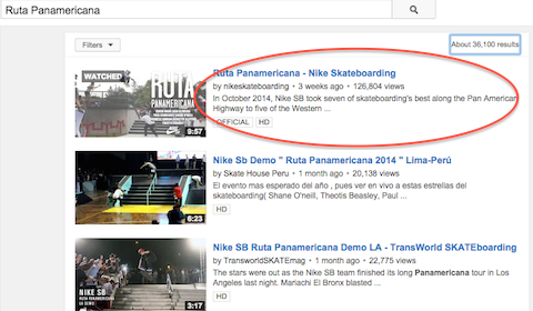 nike youtube video in search