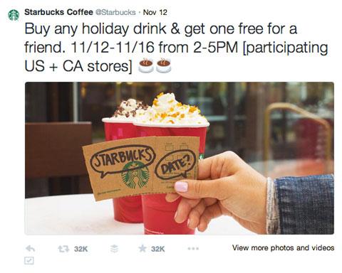 starbucks buy one get one tweet