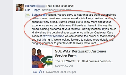 subway customer response
