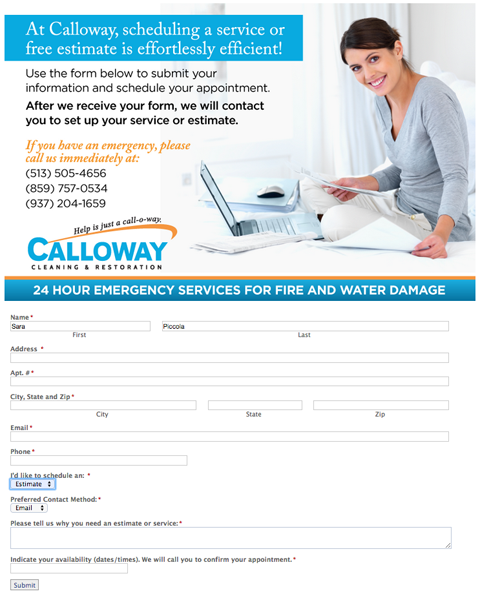 calloway cleaning form