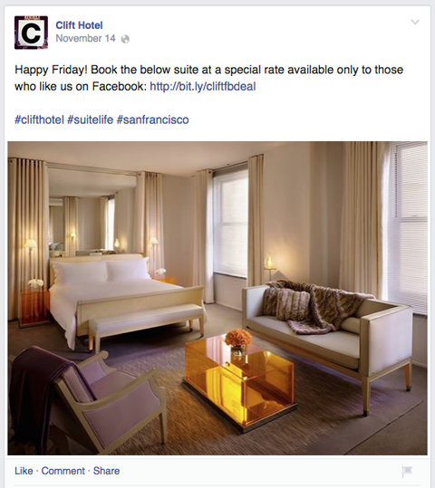 clift hotel facebook upate