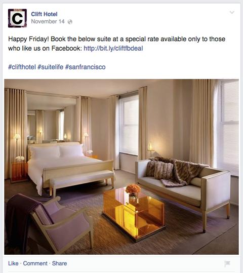clift hotel facebook upate
