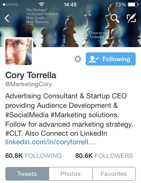 cory torrella twitter bio on mobile