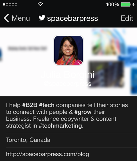 spacbarpress twitter profile on mobile