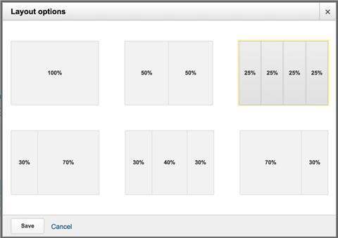 choosing a custom dashboard layout