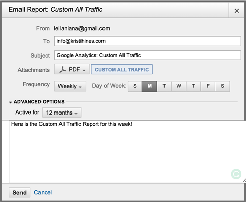email report from google analytics