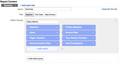 add metrics to a custom report