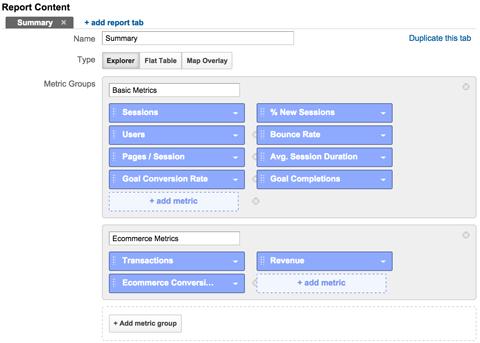 add ecommerce metrics to a custom report